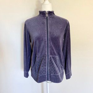 Karen Scott Purple Velour Quilt Pocket Jacket